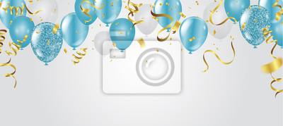 Plakat blue balloons, vector illustration. Celebration background template.