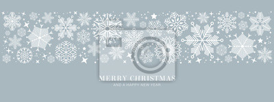 Plakat blue christmas card with white snowflakes vector illustration EPS10