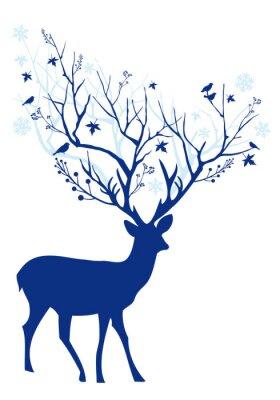 Plakat Blue Christmas jelenie, wektor