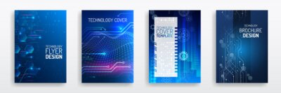 Plakat Blue layout futuristic brochures, flyers, placards. Contemporary science and digital technology concept. Vector template for brochure or cover with hi-tech elements background.