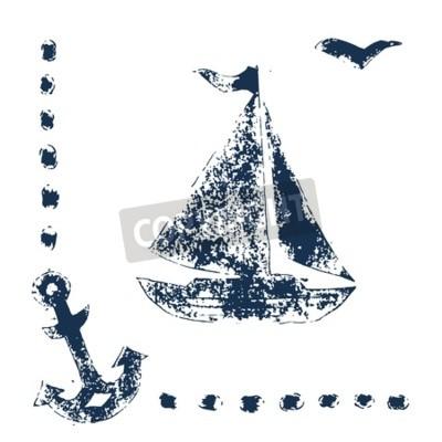 Plakat Blue print znaczek grunge jachtu, kotwica i mewa na białym tle