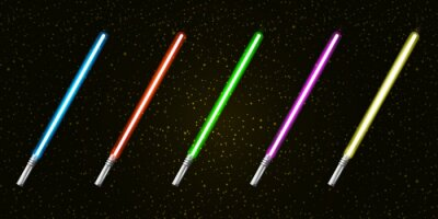 Plakat Blue, red, green, pink and yellow laser sword lightsaber set isolated on starry black galaxy background. May the 4th be with vector illustration with neon glowing lighting sword. Star wars day poster