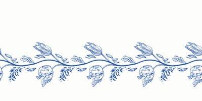 Plakat Blue retro antique porcelain floral border. Vintage kitchen, hand drawn botany tulip garland design. Line art florals on white background. Elegant nature background. Perefect for kitchen utensils