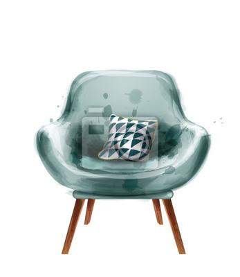 Plakat Blue retro armchair watercolor Vector. Design decor vintage furnitures