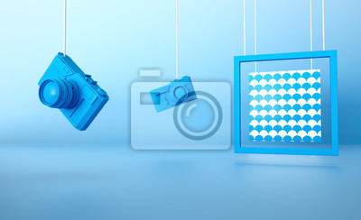 Plakat Blue retro camera on blue background with Wave frame 3d rendered image Stylish background abstract composition still life Clean Geometric concept design idea Vacation holidays travel accessories