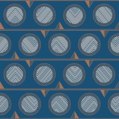 Plakat Blue retro circle pattern.