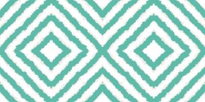 Plakat Blue Retro Tie Dye Vector Seamless Pattern. Trendy Tile Navajo Design. Traditional Boho Texture. Blue Batik Navajo Vector Seamless Pattern