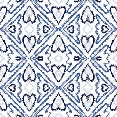 Plakat Blue Retro Tribal Vector Seamless Pattern. Vintage Tie Dye African Wallpaper. Uzbek Arabic Print. Blue Tie Dye Japanese Vector Seamless Pattern