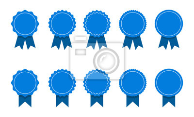 Plakat blue ribbon and banner. set of premium quality and guarantee labels isolated on white background. vector illustration