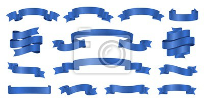 Plakat Blue ribbons. Realistic ribbon banners vector collection. Illustration flag ribbon banner, blue realistic label