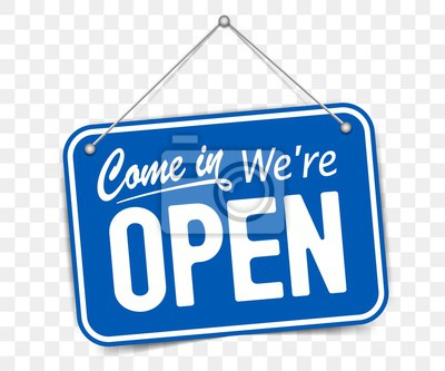Plakat Blue sign Come in we are Open