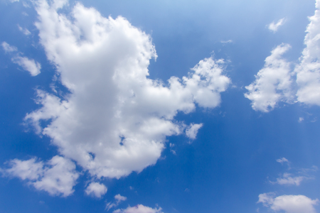 Plakat blue sky background with a tiny clouds