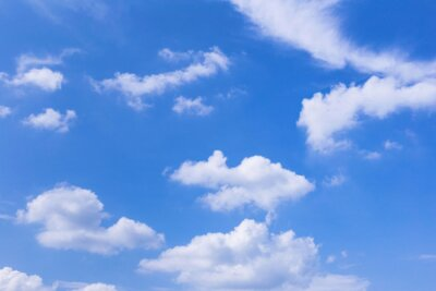 Plakat Blue sky background with white clouds, rain clouds on sunny summer or spring day.