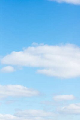Plakat blue sky with flying white light clouds