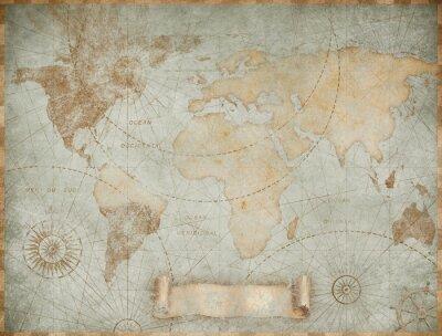 Plakat Blue vintage world map illustration based on image furnished by NASA