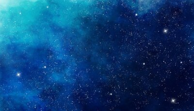 Plakat Blue watercolor space background. Illustration painting