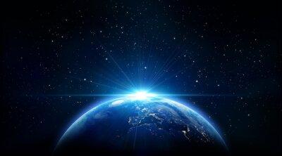 Plakat blue wschód słońca, widok Ziemi z przestrzeni kosmicznej