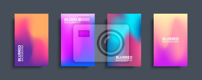 Plakat Blurred backgrounds set with modern abstract blurred color gradient patterns. Templates collection for brochures, posters, banners, flyers and cards. Vector illustration.