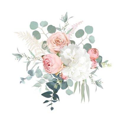 Plakat Blush pink garden roses, ranunculus, hydrangea flowers vector design bouquet