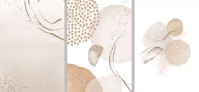 Plakat Blush, pink, ivory, beige watercolor Illustration and gold elements, on white background. Abstract modern print set. Logo. Wall art. Posters.