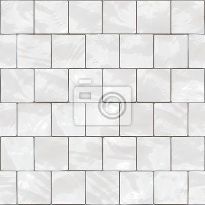 Plakat Błyszczące płytki bez szwu białe tekstury