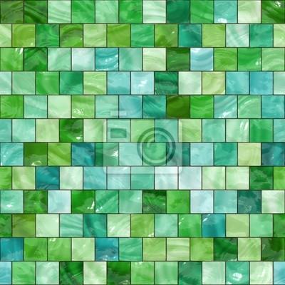 Plakat Błyszczące płytki zielony tekstury bez szwu
