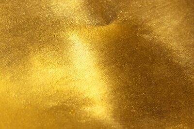 Plakat Błyszczące żółty liść złota folia tekstur