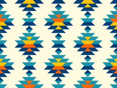 Plakat Boho aztec vertical diamonds rows colorful pattern