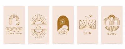Plakat boho background for social media.Set of instagram story with shape,sun,rainbow