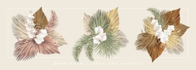 Plakat Boho bouquet dried palm leaves orchid flower illustration. Tropical jungle floral vector composition.