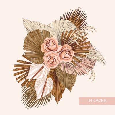 Plakat Boho bouquet dried palm leaves rose anthurium flower illustration. Tropical jungle floral vector composition.