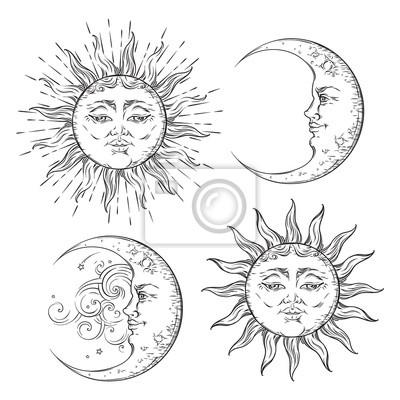 Plakat Boho chic błysku tatuaż projektowania wyciągnąć rękę sztuka słońce i zestaw półksiężyc. Antyczny styl naklejki wektora projektu na białym tle