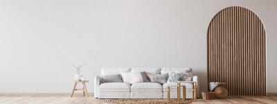 Plakat Boho cozy living room design, bright wall mockup, 3d render
