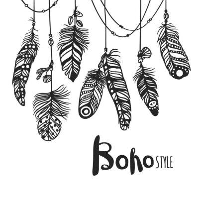 Plakat Boho pióro ręcznie rysowane ilustracji wektorowych w stylu efektu