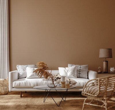 Plakat Boho style home interior, living room in brown warm color, 3d render