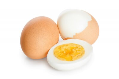 Plakat boiled egg and half isolated on white background