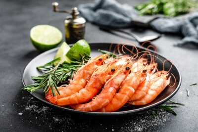 Plakat Boiled prawn shrimps on a plate