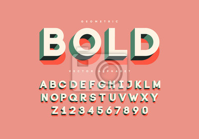Plakat Bold retro font with numbers. Trendy 3d alphabet. Eps10 vector.
