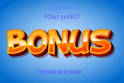 Plakat Bonus text, 3d red and yellow editable font effect