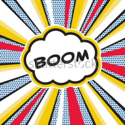 Plakat Boom, pop art ilustracja inspirowana eksplozją