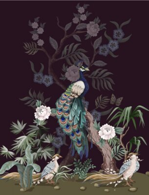 Plakat Border in chinoiserie style with peacock and peonies. Vector.