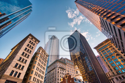 Plakat Boston downtown financial district and city skyline