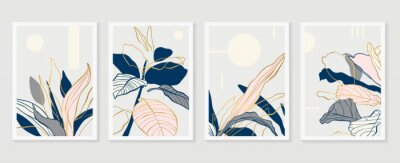 Plakat Botanical and gold abstract wall arts vector collection.  Golden and luxury pattern design with leaves line arts, Hand draw Organic shape design for wall framed prints, canvas prints, poster, home dec