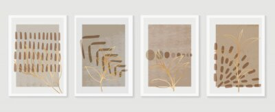 Plakat Botanical and golden line wall art vector set. Earth tone boho foliage line art drawing with  abstract shape.  Abstract Plant Art design for print, cover, wallpaper, Natural wall art..