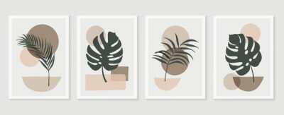 Plakat Botanical wall art vector set. Tropical Foliage line art drawing with  abstract shape.  Abstract Plant Art design for print, cover, wallpaper, Minimal and  natural wall art. Vector illustration.