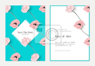 Plakat Botanical wedding invitation card template design, pink tulip and poppy flowers on blue, retro style
