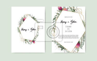 Botanical Wedding Invitation Card Template Design White And Plakaty Redro