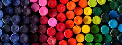 Plakat Box of crayons in a rainbow of colors background