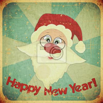 Plakat Boże Narodzenie Archiwalne karty z Mikołajem