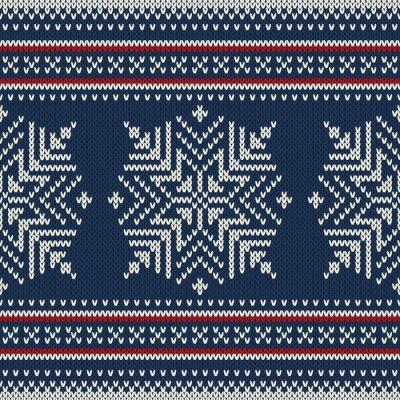 Plakat Boże Narodzenie dziane ozdobne wzór z śnieżynkami
